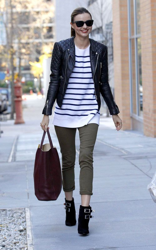 miranda-kerr-balenciaga-leather-jacket-the-row-striped-sweater-celine-cabas-shopper-tote-bag-1
